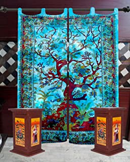GDONLINE Indian Tie Dye Tree of Life Tapestry Mandala Window Curtain Valances Room Divider 1 Pair Panel Set 82 x 27 Inches