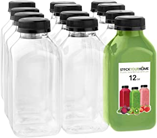 Plastic Juice Bottles with Lids, Juice Drink Containers with Caps for Juicing Smoothie Drinking Cold Beverages, 12 Oz, 12 Count