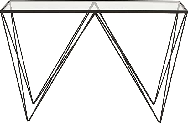 Benzara Antique Colonial Chic Metal Glass Console Table 30 H X 46 L Black Finish