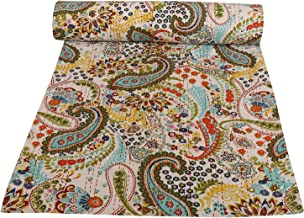 Indian Paisley Comforter Quilted Throw Blanket Paisley Kantha Quilt Boho Hippie Patchwork Quilt Ac Comforter Home Decor Be...