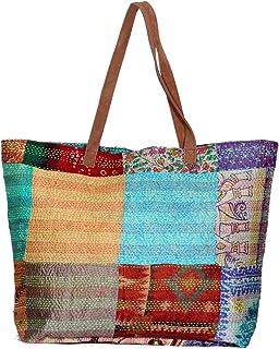 IndiWeaves Silk Kantha Work Leather Handle Handmade Beach Tote Bag, Vintage Top Handle Shoulder Bag-MultiColor
