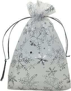 ANSLEY SHOP 100pcs 5x7 Inches Drawstrings Organza Gift Candy Bags Wedding Favors Bags (Snowflake)