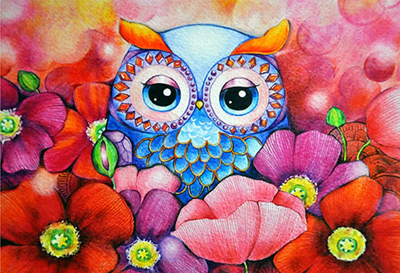 "eGoodn Diamond Painting Art Kit DIY Cross Stitch by Number Kit DIY Arts Craft Wall Decor, Full Drill 19.7"" by 14.2"", Cartoon Owl, No Frame"