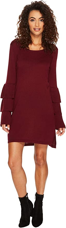 kensie - Soft Sweater Dress with Ruffle Sleeve KSNK8151