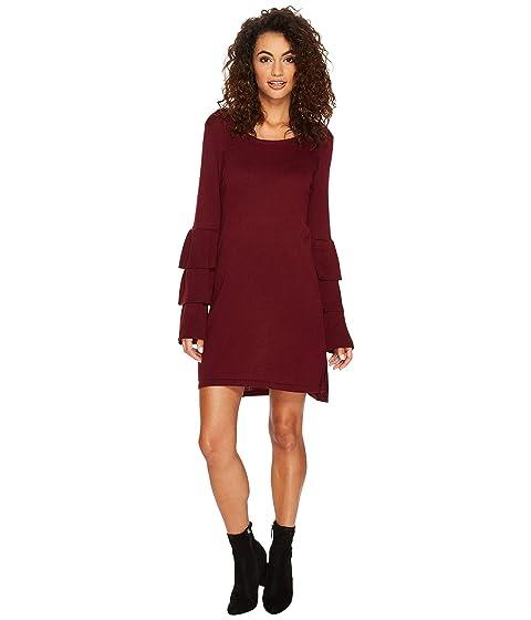 kensie Soft with Ruffle Dress Sweater KSNK8151 Sleeve RtwqrRd