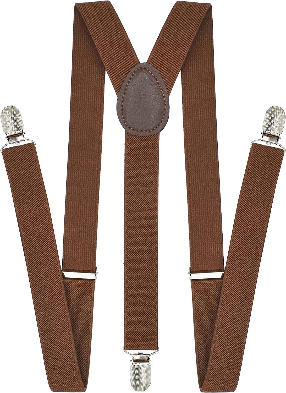 Trilece Suspenders for Men - Adjustable Size Elastic 1 inch Wide Y Shape Suspender for Women Heavy Duty Clips