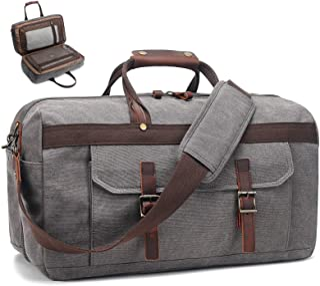 Sponsored Ad - Duffle Bag for Men Waterproof Genuine Leather Canvas Travel Duffel Bags for Women Overnight Weekender Bag C...