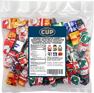 Sponsored Ad - By The Cup Gourmet Solid Milk Chocolate Miniatures Christmas, 1 Pound Candy Mix Santas, Snowmen, and Presents