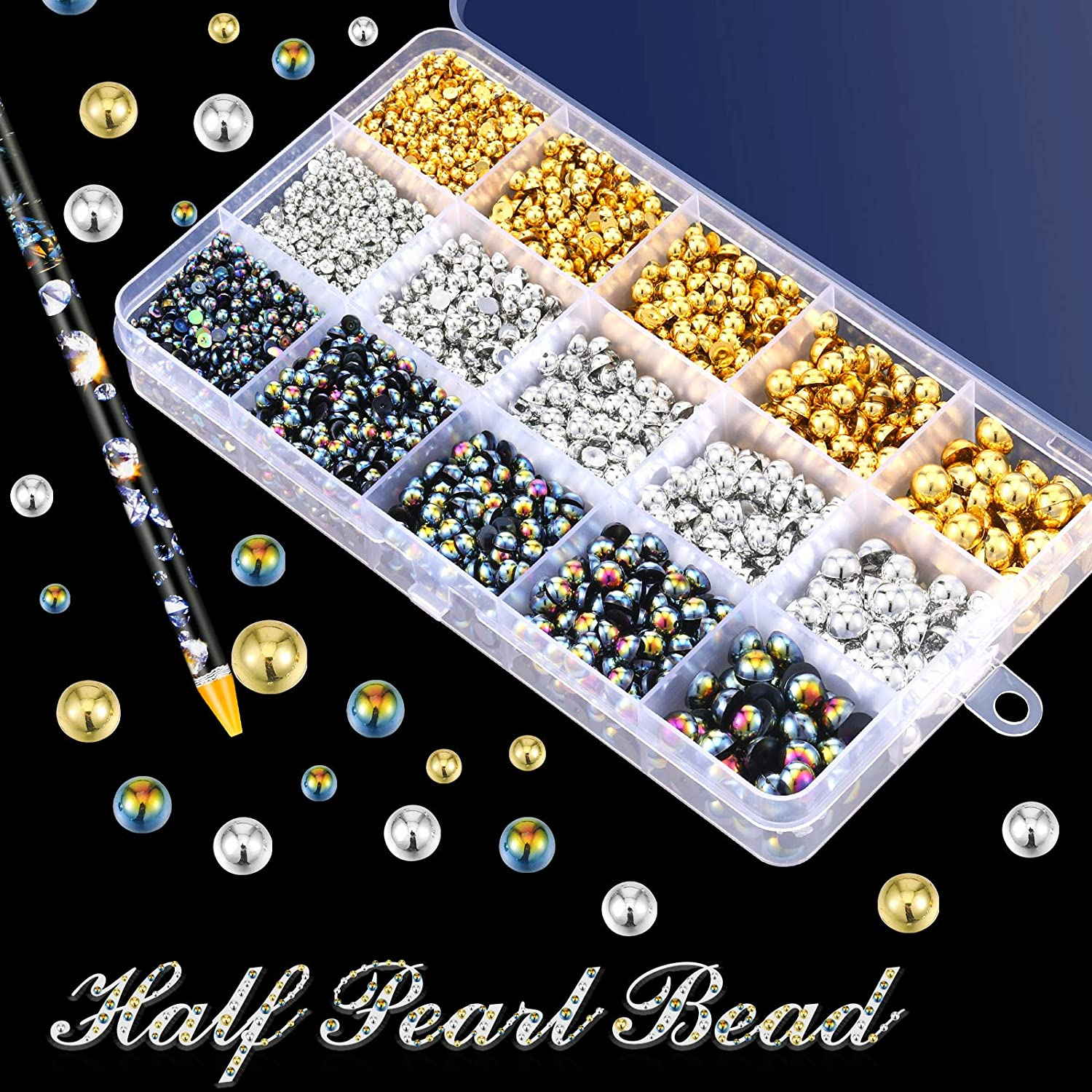 6100/Pieces/ABS Half Round/Pearls Flatback Pearl Beads with/Self/Adhesive/Resin/Rhinestone/Picker/Pencil/for/DIY/Phone/Nail/Face/Art,/Mixed/Sizes/3//4//5//6//8/mm B