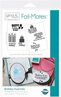 """Gina K. Designs for Therm O Web Foil Mates Sentiments, 5.5"""" x 8.5"""", Birthday Essentials 10 Count"""