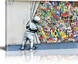 Banksy Graffiti Street Art Impression sur Toile Child Graffiti Tableau Pop Art Chambre Enfant Decoratifs Muraux Salon Mode...