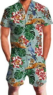Uideazone Men Summer Shorts 3D Printed Bro Romper Jumpsuit One Piece Romper Outfits