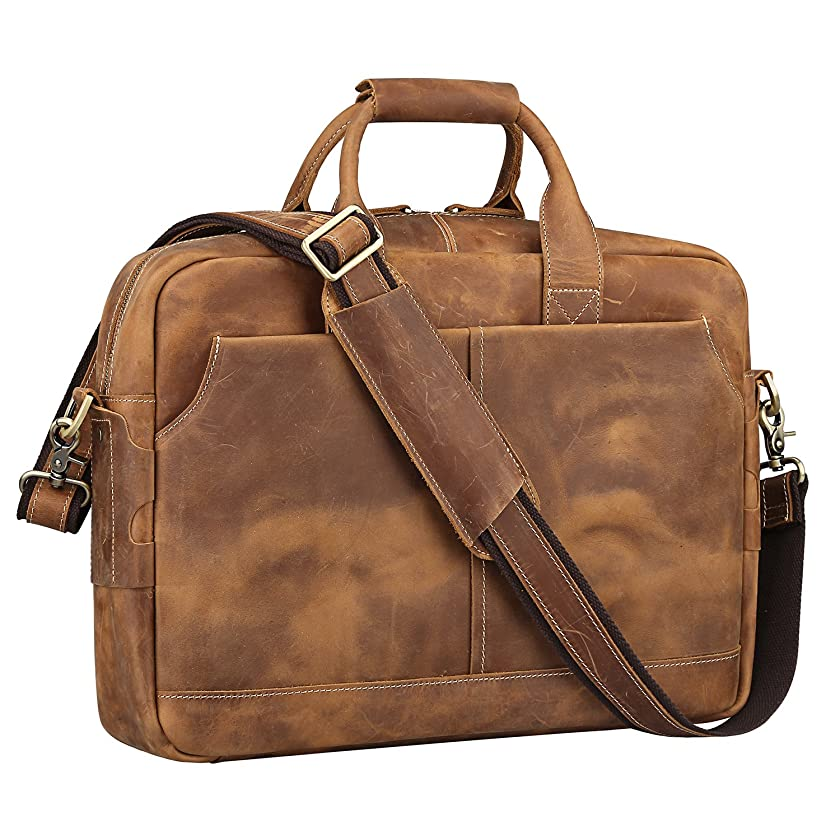 Father's Day Gift S-ZONE Genuine Leather Briefcase Messenger Bag Mens 17 inch Laptop Bag Shoulder Crossbody Bag