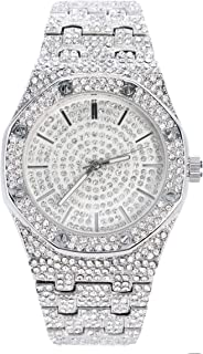 Men's Blinged Out 40mm Dial CZ Silver Watch with Tapered Band | Japan Movement | Simulated Lab Diamonds