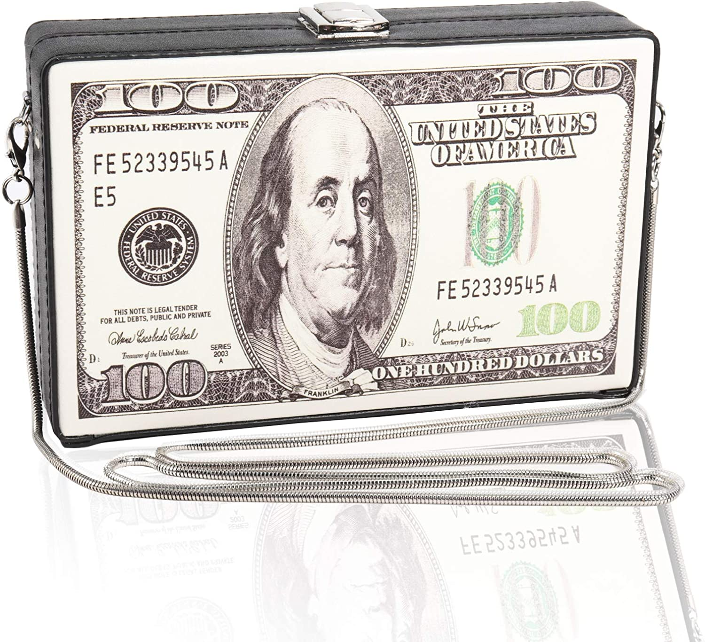 Magibag $100 Dollar Bill Pattern Clutch Purse PU Leather Cross-Body Shoulder Bag Women Clasp Evening Handbag