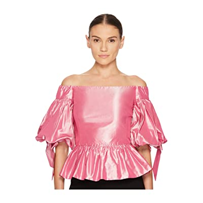 Marchesa Solid Off the Shoulder Peplum Top in Taffeta (Rose) Women