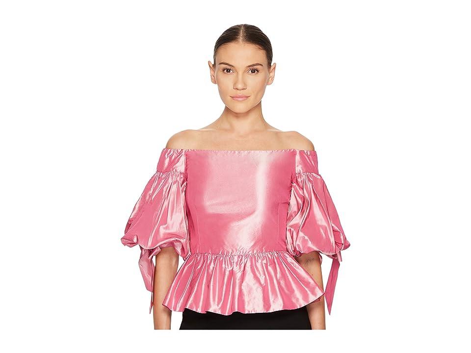 Marchesa Solid Off the Shoulder Peplum Top in Taffeta (Rose) Women's Dress
