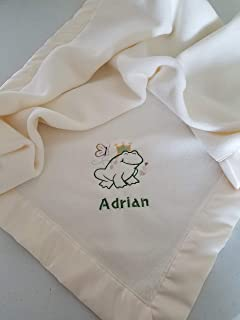 Personalized Fleece Baby Blanket With Embroidered Frog Prince
