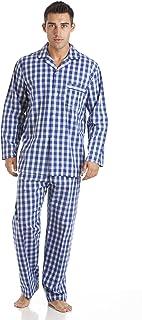 Mens Haigman 100% Cotton Long Pyjama Nightwear Lounge wear Blue Check 2XL