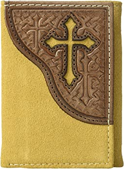 Embossed Tab with Cross Trifold Wallet