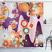 Ambesonne Japanese Decor Collection, Bohemian Textured Round Embellished Colored Different Size Distinct Decorative Flower Forms , Polyester Fabric Bathroom Shower Curtain, 75 Inches Long, Multi