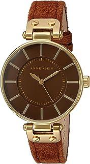 Anne Klein Women's AK/2218GPRU Gold-Tone and Rust Colored Suede Strap Watch