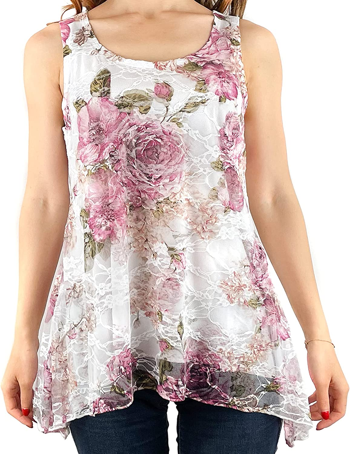 Brittany Black Women's Floral Flowy Sleeveless Blouse Tank Top