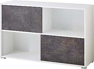 Germania GW Altino Rangement à Porte coulissante 4152, Bois, Blanc/Basalto Sombre, 120 x 74 x 36 cm