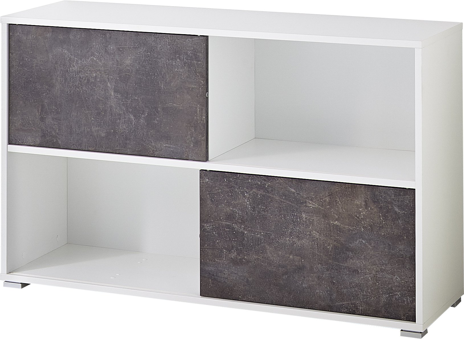 Germania 4152 – 261 GW de Altino Puerta Corredera Estantería, melamina Resina Revestido de aglomerado, Color Blanco/Oscuro de basalto, 35 x 120 x 74 cm: Amazon.es: Hogar