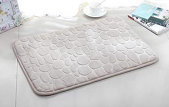 45x70cm Non-Slip Soft Fluffy Water Absorbent Bath Mats Bathroom Rugs Machine Washable (Ivory)