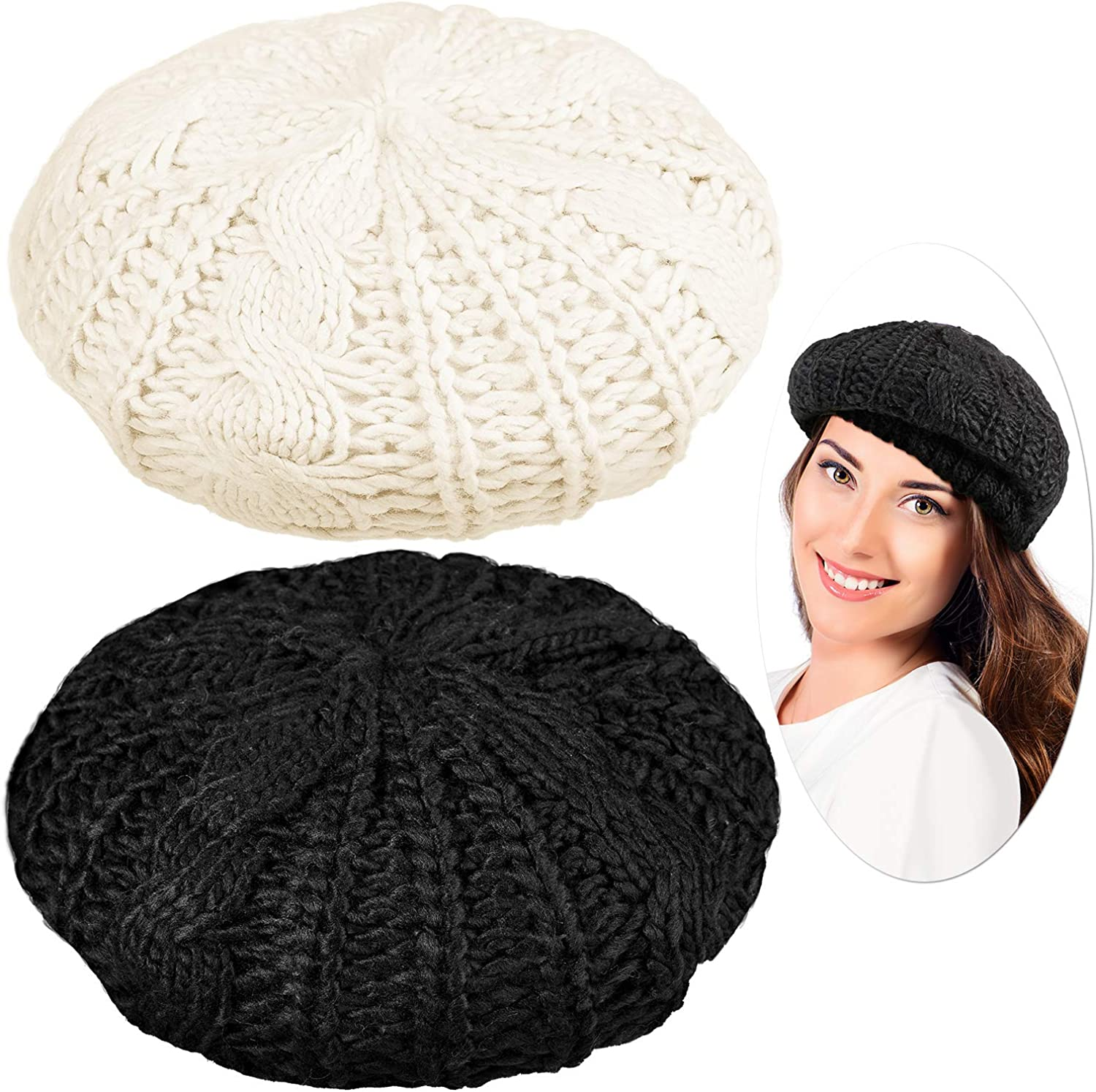 SATINIOR 2 Pieces Ladies Soft and Lightweight Crochet Solid Color Beret, One Size Casual Beanie