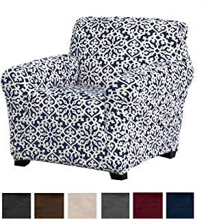 Great Bay Home Modern Velvet Plush Arm Chair Slipcover. Strapless Chair Cover, Stretch Slipcover for Arm Chairs, Soft Chair Cover for Living Room. (Chair, Dark Denim Blue - Snowflake)