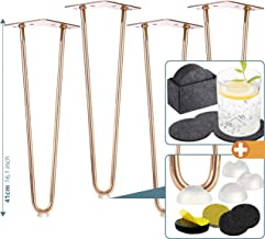 4X Haarspeldpoten in roestvrij metaal koper - Meubelpoten 41 cm met 2 Struts +Plus: Vloerbeschermers + Vilt Coaster