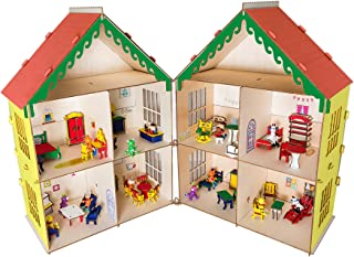 from The House of PlayWay , a DIY Villa , a Large Size Dollhouse,Made Out of Soft Wood,,consisting of 8 Rooms,Filled with Artishs' Friends&Wooden Furniture.