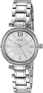 GUESS Women's Dressy Watch with White Dial, Crystal-Accented Bezel and Stainless Steel Pilot Buckle