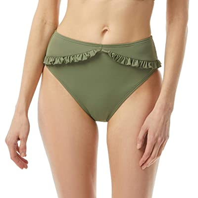 MICHAEL Michael Kors Iconic Solids Ruffled High-Waist High Leg Bottoms (Army Green) Women