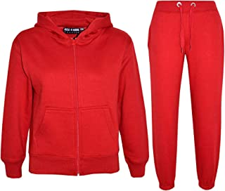Kids Girls Boys Plain Tracksuit Hooded Hoodie Bottom Jog Suit Joggers 7-13 Years