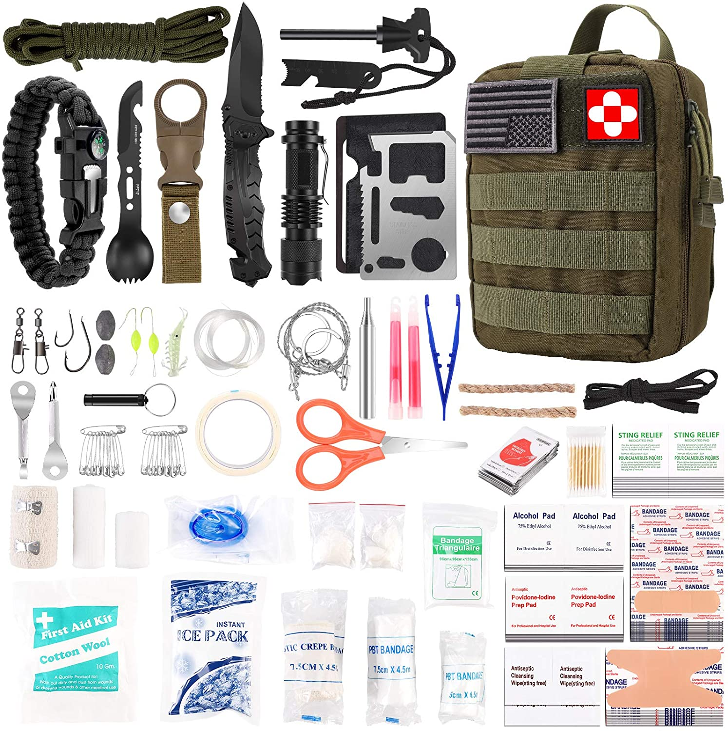 216 Pcs Survival First Aid kit, Professional Survival Gear Equipment Tools First Aid Supplies for SOS Emergency Tactical Hiking Hunting Disaster Camping Adventures(Green)