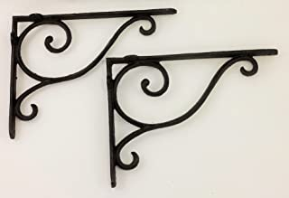 Aunt Chris' Products - [Lot/Set of 2] - Shelf Bracket With Simple Thin Victorian Scroll Design - Wrought Iron - All-Purpose Hanger - Dark Rustic Bronze Primitive Design - Indoor or Outdoor Use