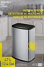 EKO - [CW2236MT-47L 47L/12.4G Fingerprint-Resistant Stainless Steel Motion Sensor Trash Can (Black)
