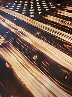 american flag burned wood