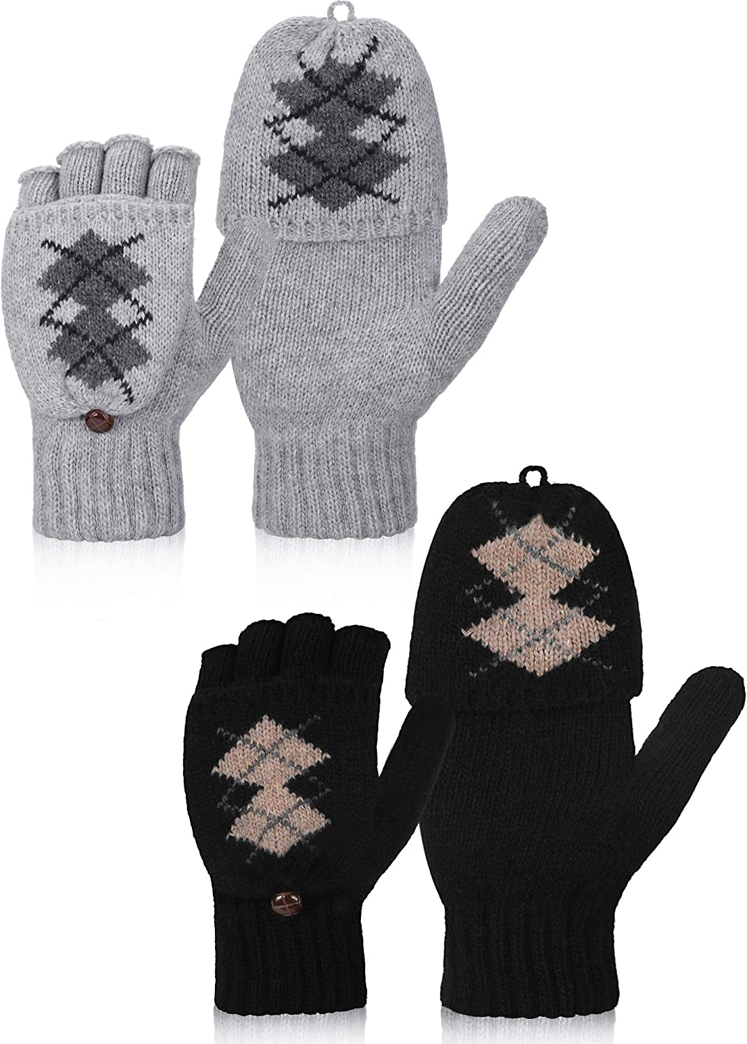 2 Pairs Women's Winter Fingerless Gloves Winter Knitted Mittens Convertible Gloves with Buttoned Thumb Cover (Style Set 6)