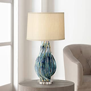 Teresa Modern Table Lamp Ceramic Hand Painted Teal Drip Beige Fabric Drum Shade for Living Room Family Bedroom Office - Possini Euro Design