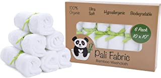 Pali Fabric Bamboo Washcloths   Premium Organic Bamboo Washcloths   Ultra Soft Face Towels   Hypoallergenic and Antibacterial   Perfect for Babies and Sensitive Skin   10x10 (6 Pack)