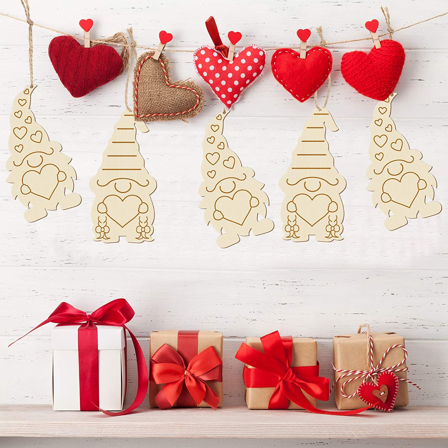 Wooden Gnome Hanging Ornaments Valentine Gnome Wooden Slices DIY Gnome Ornaments Valentine Wooden Hanging Ornaments for DIY Craft Making Painting Valentine Decorations 12 Pieces