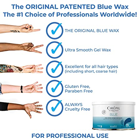 A before image of a reviewer's underarm hair, then a picture of the blue wax with hair of it, and an after image of the reviewer's hairless underarms