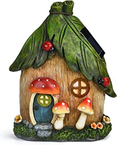Fairy Garden House Statue Hanging Tree Sculpture Outdoor Figurines Tree Ornament with Solar Powered Lights and Mushroom for Patio Lawn Yard Porch Decoration Housewarming Gift, 7x2.8x8.7 Inch