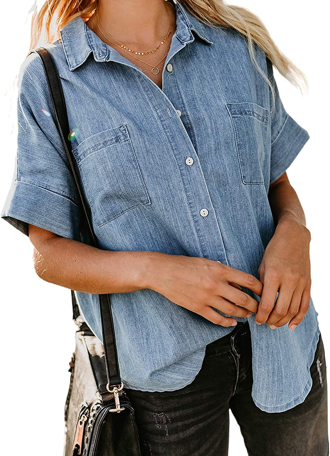 Womens Short Sleeve Shirts Denim Button Down Blouse with Pockets V Neck Casual Tops Petite