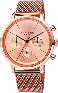 Akribos XXIV Men's 'Ultimate' Multifunction Watch - 3 Subdials Include Day, Date and GMT on Logoed Dial On Stainless Steel Mesh Bracelet - AK714