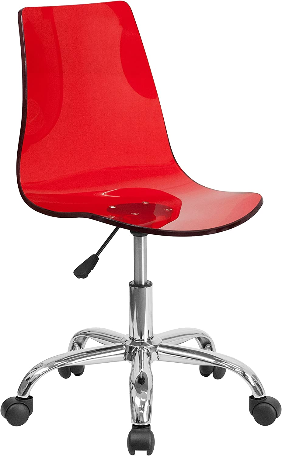 Flash Furniture Contemporary Transparent Red Acrylic Swivel Task Chair with Chrome Base